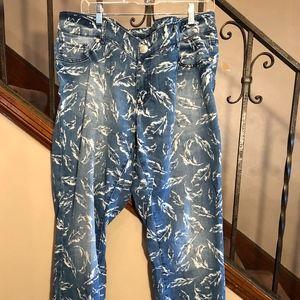 Seven Skinny Leaf Printed Jeans